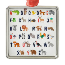 Animal ABCs - Alphabet Metal Ornament