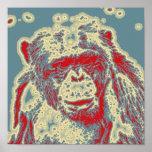 animal abstracto - chimpancé póster