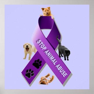 Animal Abuse Awareness Ribbon (Stop Animal Abuse) Poster