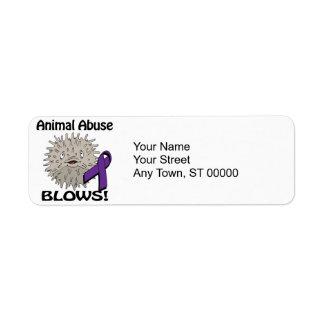 Animal Abuse Blows Awareness Design Return Address Label