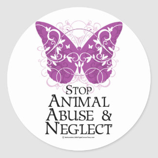 Animal Abuse Butterfly Classic Round Sticker