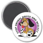 Animal Abuse Dog 3 Inch Round Magnet