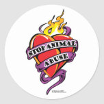 Animal Abuse Tattoo Heart Stickers