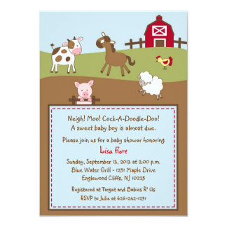 Animal Acres Farm Animal Baby Shower Invitations
