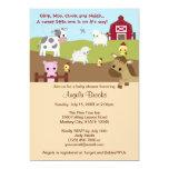 Animal Acres Farm Animal Baby Shower NEUTRAL AAK 5x7 Paper Invitation Card