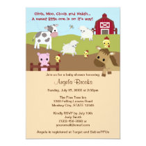 Animal Acres Farm Animal Baby Shower NEUTRAL AAK Invitation