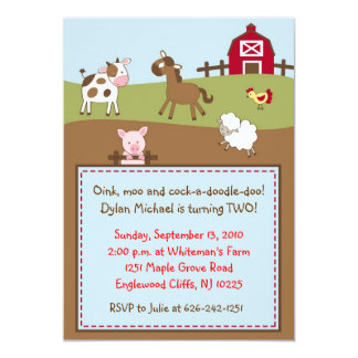 Animal Acres Farm Animal Birthday Invitations
