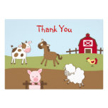 Animal Acres Farm Animal Flat Thank You Note Cards Invite