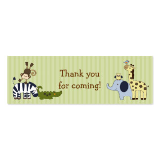 Animal Adventure Jungle Animal Favor Gift Tags Double-Sided Mini Business Cards (Pack Of 20)