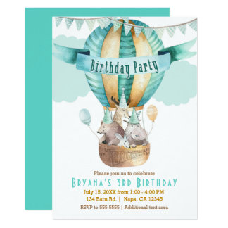 Animal Adventure Watercolor ANY AGE Birthday Party Card