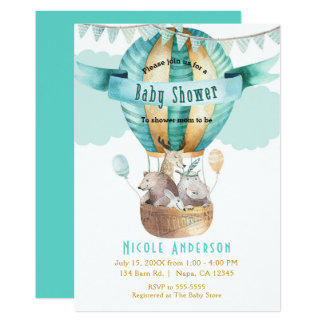 Animal Adventure Watercolor Boho Baby Shower Card