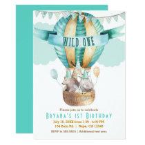 Animal Adventure Watercolor Boho WILD ONE 1st Invitation