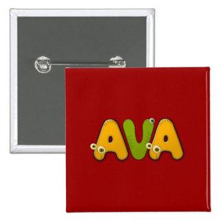 animal alphabet Ava Pinback Button