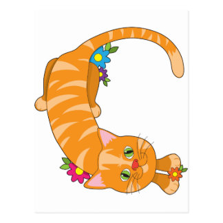 Animal Alphabet Cat Postcard