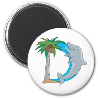 Animal Alphabet Dolphin 2 Inch Round Magnet