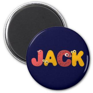 animal alphabet Jack 2 Inch Round Magnet