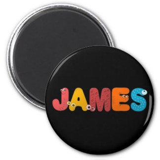 animal alphabet James 2 Inch Round Magnet