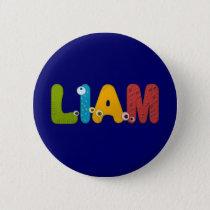 animal alphabet Liam Pinback Button