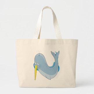 Animal Alphabet Narwhal Large Tote Bag