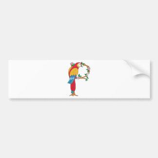 Animal Alphabet Parrot Car Bumper Sticker