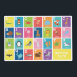 """Animal Alphabet Placemat<br><div class=""""desc"""">This fun,  bright placemat is a fun way to reinforce the alphabet. Each letter is represented with an animal. You can personalize this placemat with your child&#39;s name.</div>"""