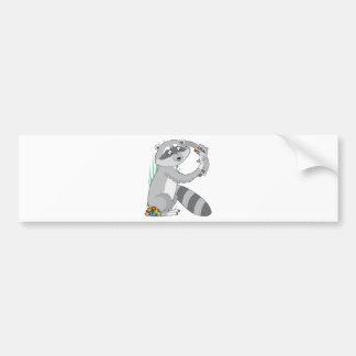 Animal Alphabet Raccoon Car Bumper Sticker