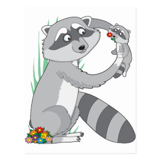 Animal Alphabet Raccoon Postcard