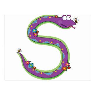 Animal Alphabet Snake Postcard