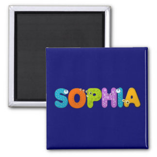 animal alphabet Sophia 2 Inch Square Magnet