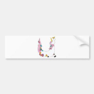 Animal Alphabet Unicorn Car Bumper Sticker