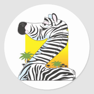 Animal Alphabet Zebra Classic Round Sticker