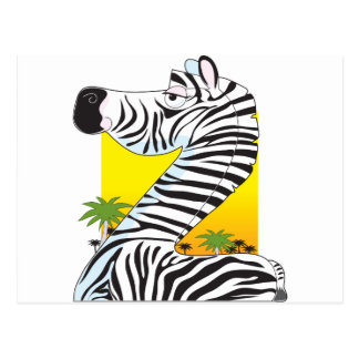 Animal Alphabet Zebra Postcard