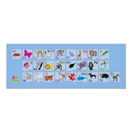 Animal Alphabets on blue Poster