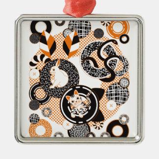Animal and doughnut (Animal and doughnut) Square Metal Christmas Ornament