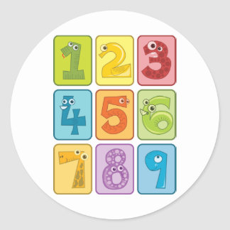 Animal and numbers classic round sticker