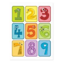 Animal and numbers postcard