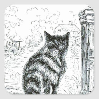 Animal - animal que actúa humano - gato pegatina cuadrada