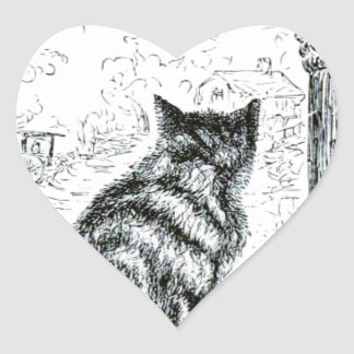 Animal - animal que actúa humano - gato pegatina en forma de corazón