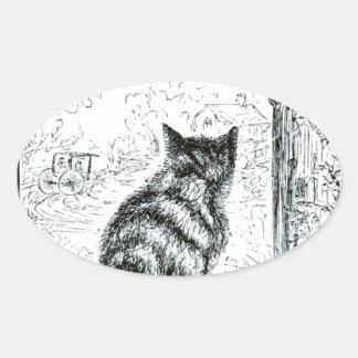 Animal - animal que actúa humano - gato pegatina ovalada