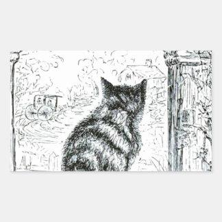 Animal - animal que actúa humano - gato pegatina rectangular