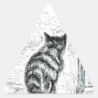 Animal - animal que actúa humano - gato pegatina triangular