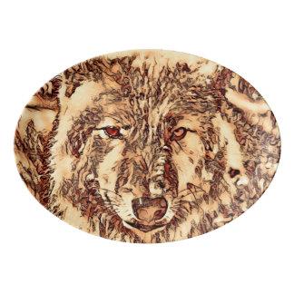 Animal ArtsStudio- amazing wolf Porcelain Serving Platter