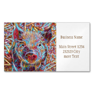 Animal ArtStudio- funky piglet Magnetic Business Card