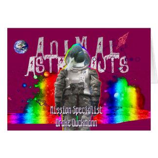 Animal Astronaut Duck Greeting Card