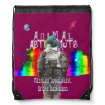 Animal Astronaut Duck in Rainbow Galaxy Drawstring Backpack
