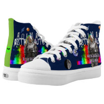 Animal Astronaut Goat in Rainbow Space Universe High-Top Sneakers