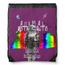 Animal Astronaut in Rainbow Galaxy Bird Drawstring Bag