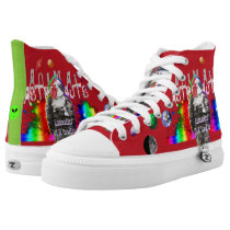 Animal Astronaut Rooster in Rainbow Space High-Top Sneakers
