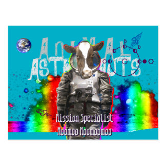Animal Astronauts Cow Postcard