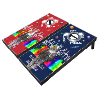 Animal Astronauts Goat and Rooster Rainbow Space Cornhole Set